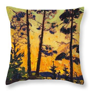 Pine Trees At Sunset Throw Pillow