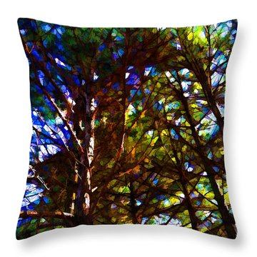 Pine Trees In Abstract 1 Throw Pillow