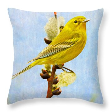 Pine Warbler On Willow Catkin Throw Pillow
