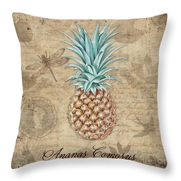 Pineapple, Ananas Comosus Vintage Botanicals Collection Throw Pillow by Tina Lavoie