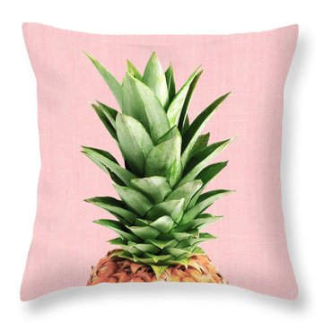 Pineapple And Pink Throw Pillow by Vitor Costa
