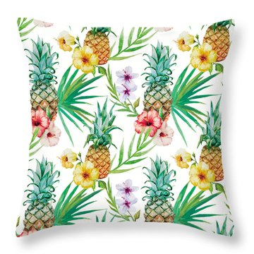 Pineapple And Tropical Flowers Throw Pillow