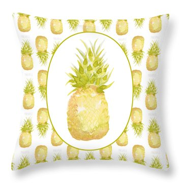 Throw Pillow featuring the painting Pineapple Cameo by Cindy Garber Iverson
