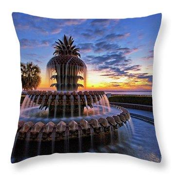 The Pineapple Fountain At Sunrise In Charleston, South Carolina, Usa Throw Pillow