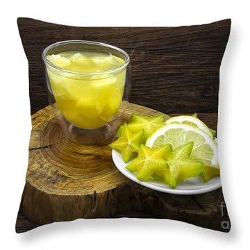 Pineapple Juice And Star Fruit Throw Pillow