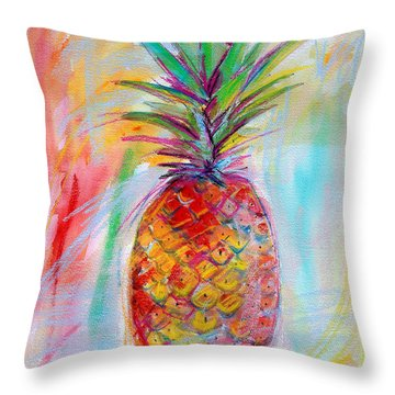 Pineapple Mixed Media Painting Throw Pillow