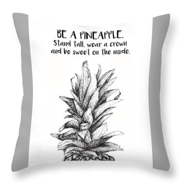 Throw Pillow featuring the drawing Pineapple by Nancy Ingersoll