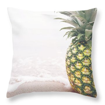 Pineapple On The Beach Throw Pillow