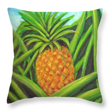 Pineapple Painting #332 Throw Pillow by Donald k Hall