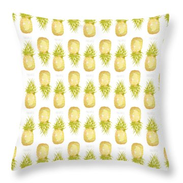 Throw Pillow featuring the painting Pineapple Print by Cindy Garber Iverson