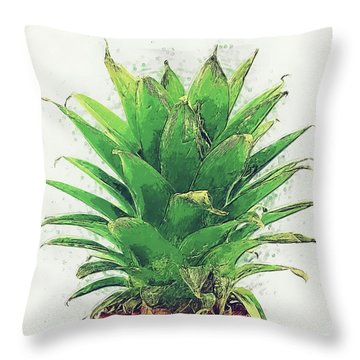 Throw Pillow featuring the digital art Pineapple by Taylan Apukovska