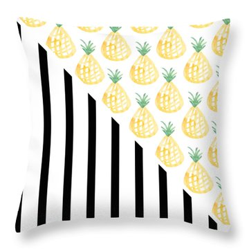 Pineapples And Stripes Throw Pillow by Linda Woods
