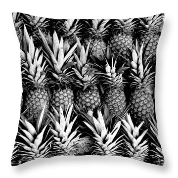 Pineapples In B/w Throw Pillow