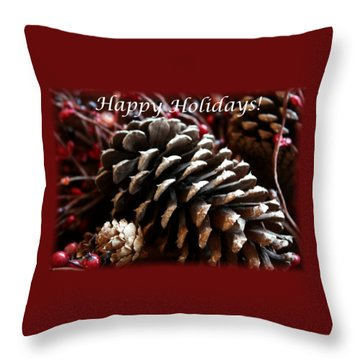 Throw Pillow featuring the photograph Pinecones And Berries by Ellen O'Reilly