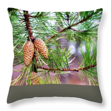 Throw Pillow featuring the photograph Pinecones by John Rizzuto