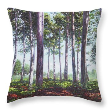 Pines In New Forest Shade Throw Pillow