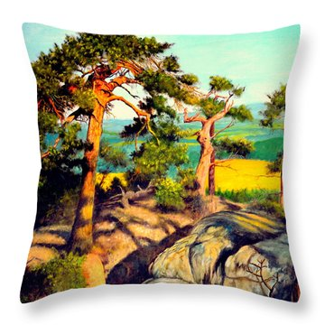 Pines On The Rocks Throw Pillow