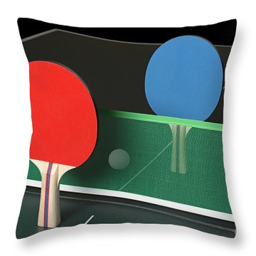 Ping Pong Paddles On Table, Standing Upright Throw Pillow