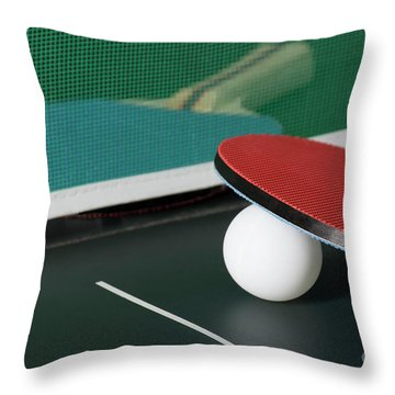 Ping Pong Paddles On Table With Net Throw Pillow