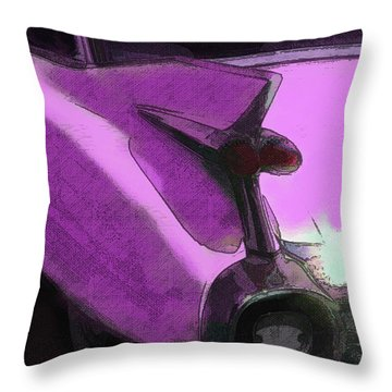 Pink 1959 Cadillac Tailfin Pop Throw Pillow