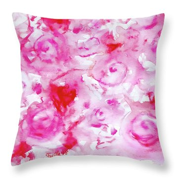 Pink Abstract Floral Throw Pillow