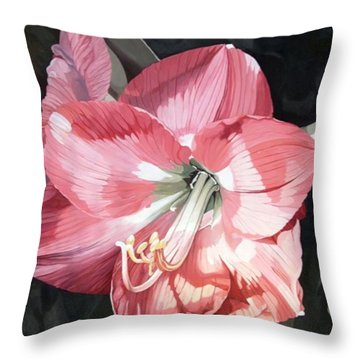 Throw Pillow featuring the painting Pink Amaryllis by Laurie Rohner