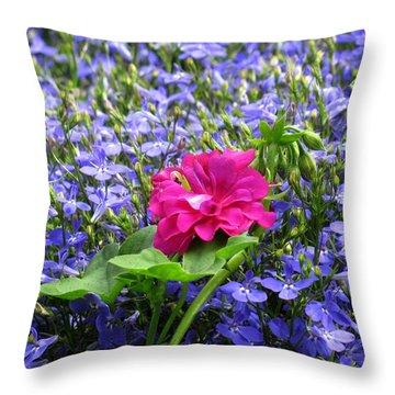 Pink Among Blues Throw Pillow