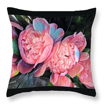 Pink And A Little Blue - Colors From My Garden Throw Pillow