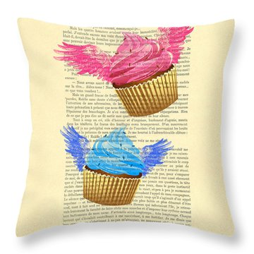 Pink And Blue Cupcakes Vintage Dictionary Art Throw Pillow