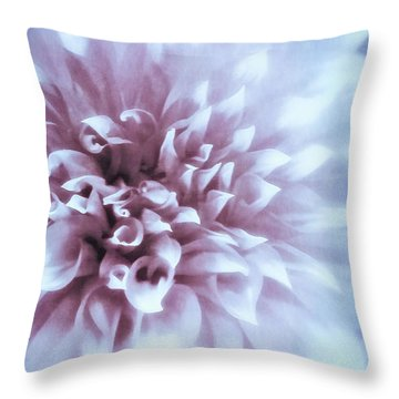 Pink And Blue Dahlia Throw Pillow
