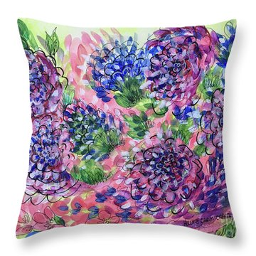 Pink And Blue Flower Flurry Throw Pillow