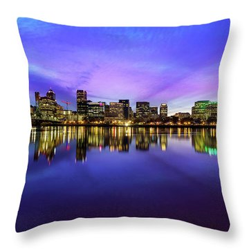 Pink And Blue Hue Evening Sky Over Portland Oregon Throw Pillow by David Gn