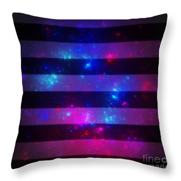 Pink And Blue Striped Galaxy Throw Pillow
