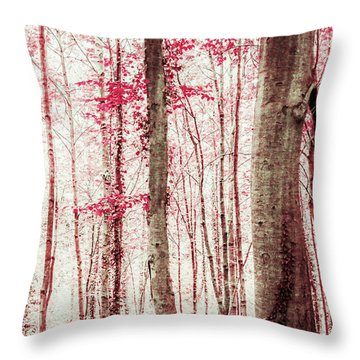 Pink And Brown Fantasy Forest Throw Pillow