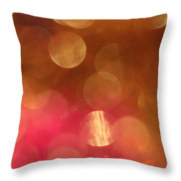 Pink And Gold Shimmer- Abstract Photography Throw Pillow