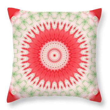 Pink And Green Mandala Fractal 001 Throw Pillow