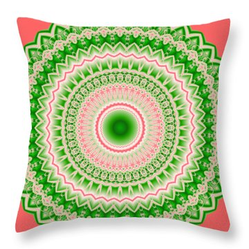 Pink And Green Mandala Fractal 002 Throw Pillow
