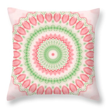 Pink And Green Mandala Fractal 003 Throw Pillow
