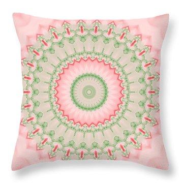 Pink And Green Mandala Fractal 004 Throw Pillow
