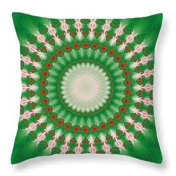 Pink And Green Mandala Fractal 005 Throw Pillow