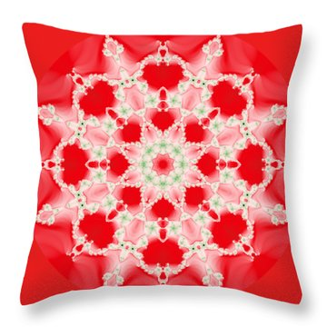 Pink And Green Watercolor Snowflake Fractal Throw Pillow