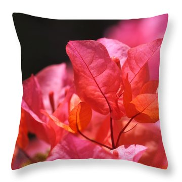 Pink And Orange Bougainvillea Throw Pillow