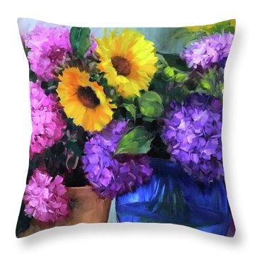 Pink And Purple Hydrangea Garden Throw Pillow