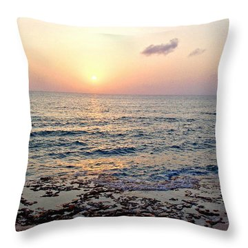 Throw Pillow featuring the photograph Pink And Purple Sunset Over Grand Cayman by Amy McDaniel