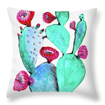 Pink And Teal Cactus Throw Pillow