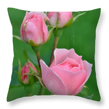Pink And The Buds Throw Pillow