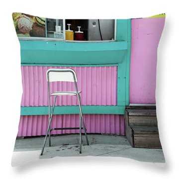 Pink And Turquoise Blue Ice Cream Stand Throw Pillow
