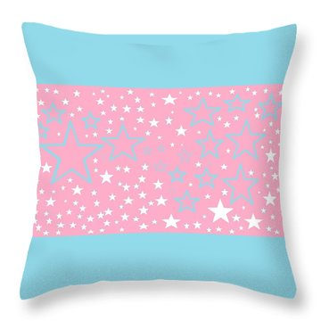 Pink And Turquoise Stars 1 Throw Pillow