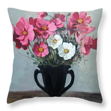 Pink And White Cosmos In Black Glass Vase Throw Pillow