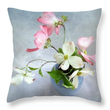 Pink And White Dogwood Still Throw Pillow by Louise Kumpf